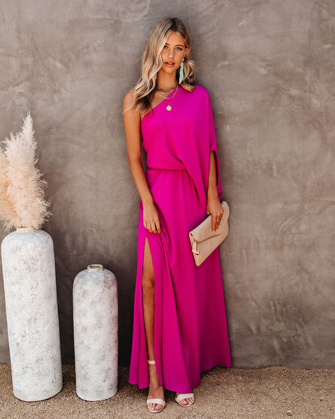 From The Source One Shoulder Maxi Dress - Fuchsia