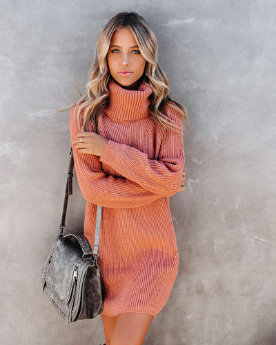 Frozen Heart Turtleneck Sweater Dress - Clay