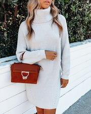 Frozen Heart Turtleneck Sweater Dress - Light Grey