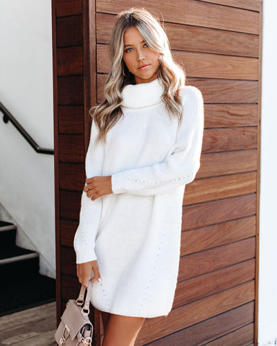 Frozen Heart Turtleneck Sweater Dress - Off White