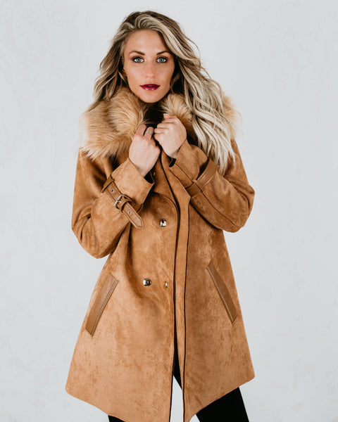Chicago Faux Suede Pocketed Coat