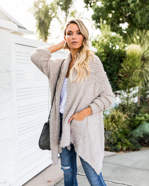 Fuzzy Wuzzy Pocketed Knit Cardigan - Taupe