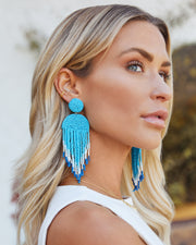 Getaway Beaded Fringe Earrings - Light Blue view 1