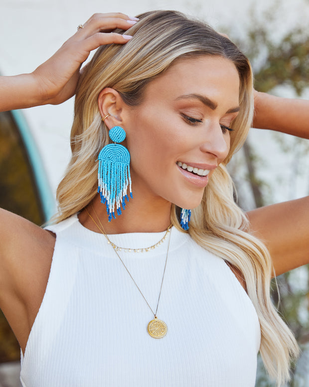 Getaway Beaded Fringe Earrings - Light Blue view 2