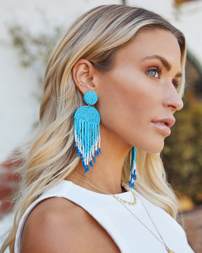Getaway Beaded Fringe Earrings - Light Blue