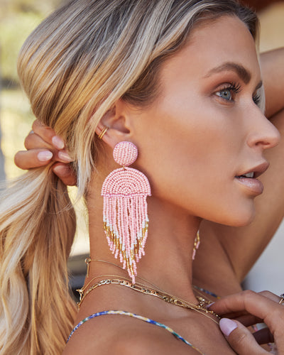 Getaway Beaded Fringe Earrings - Pink