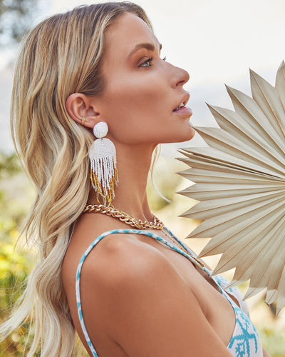 Getaway Beaded Fringe Earrings - White