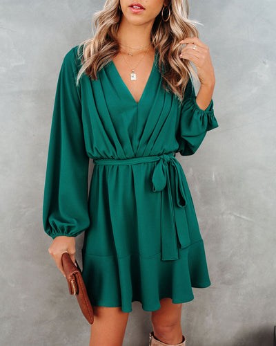 Glad I Found You Ruffle Dress - Hunter Green
