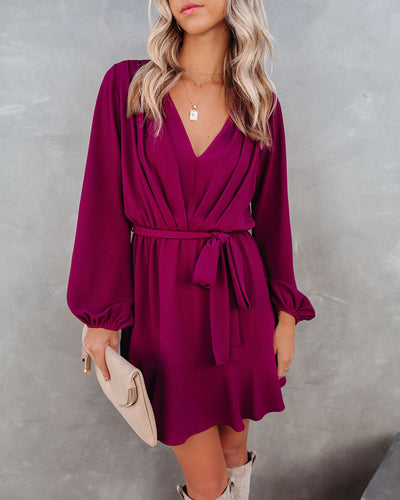 Glad I Found You Ruffle Dress - Wine