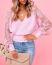 Got A Crush Contrast Lace Knit Sweater Top