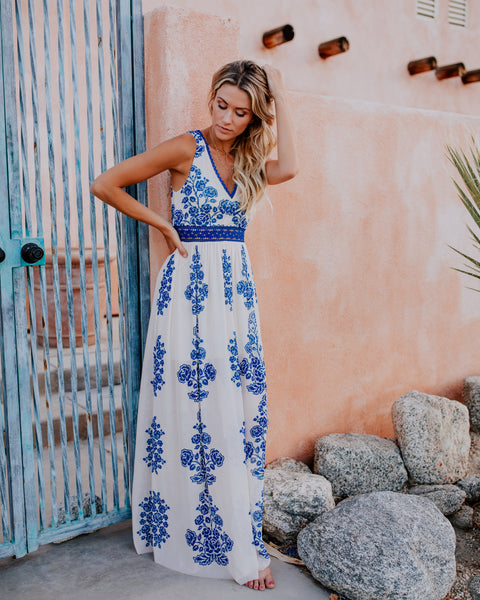 Grecian Sunset Maxi Dress