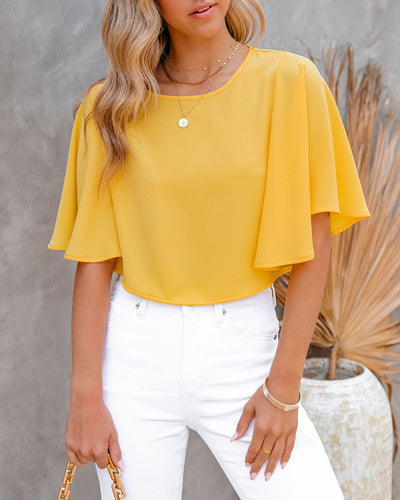 Give Me Butterflies Crop Blouse - Sunny Yellow