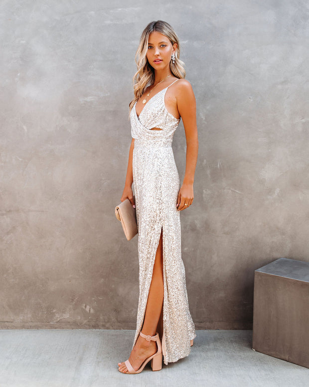 Glamour Sequin Slit Jumpsuit