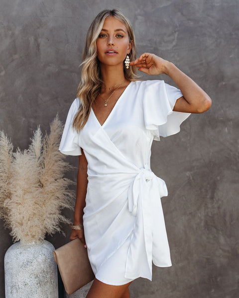 Glow Up Satin Wrap Dress - Off White