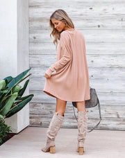 Go Easy Cotton Blend Ribbed Long Sleeve Dress