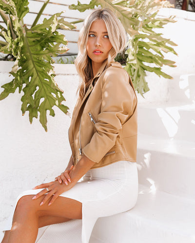 Gramercy Pocketed Faux Leather Moto Jacket - Camel