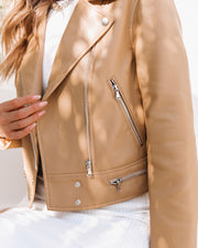 Gramercy Pocketed Faux Leather Moto Jacket - Camel view 4