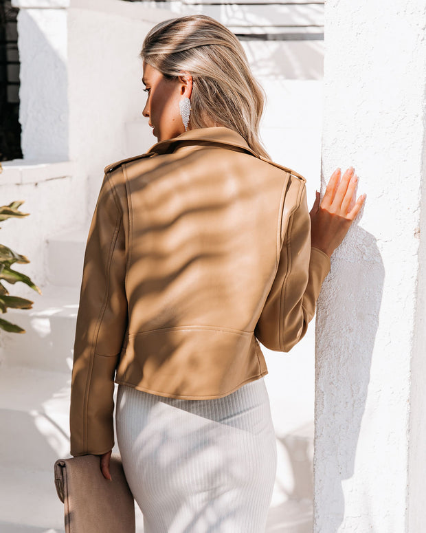 Gramercy Pocketed Faux Leather Moto Jacket - Camel view 2
