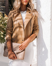 Gramercy Pocketed Faux Leather Moto Jacket - Camel view 9