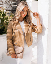 Gramercy Pocketed Faux Leather Moto Jacket - Camel view 6
