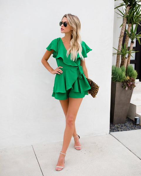 Green With Envy Wrap Romper