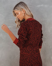 Gusto Crop Knit Leopard Sweater - Brick view 2