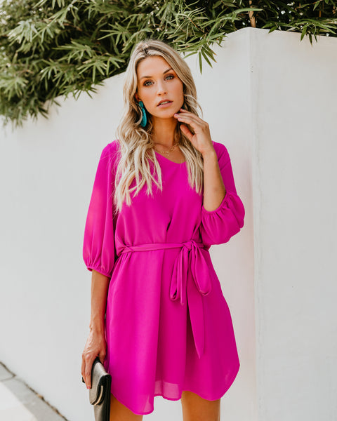 Happiest Hour Pocketed Dress - Fuchsia