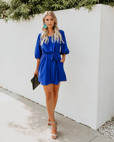 Happiest Hour Pocketed Dress - Royal Blue