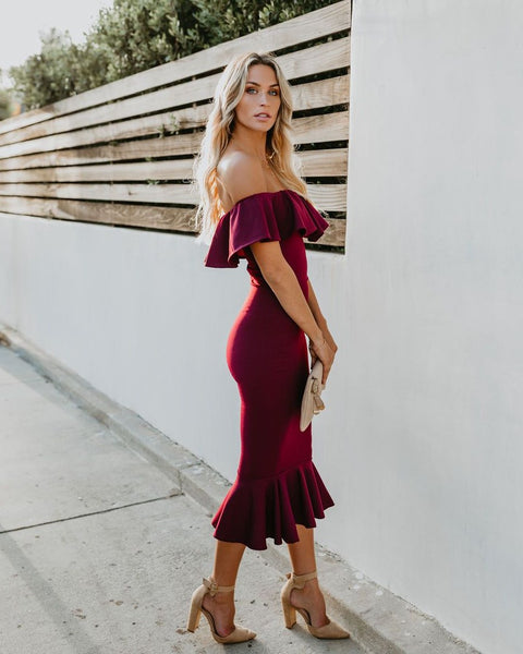 Havana Ruffle Midi Dress - Burgundy