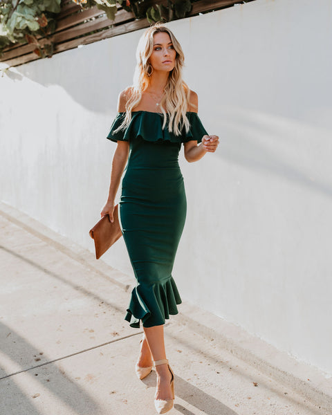 Havana Ruffle Midi Dress - Hunter Green