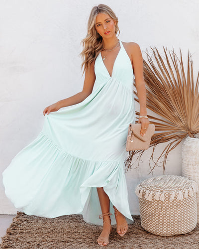 Haiden Asymmetrical Halter Maxi Dress - Mint