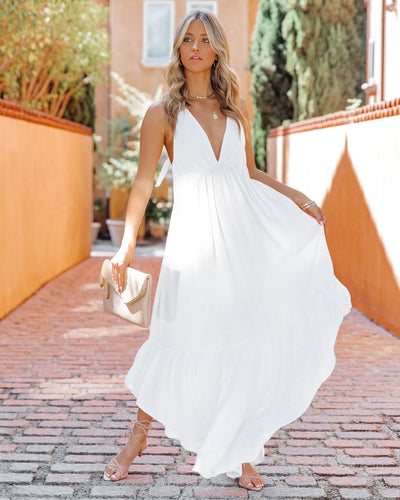 Haiden Asymmetrical Halter Maxi Dress - Off White