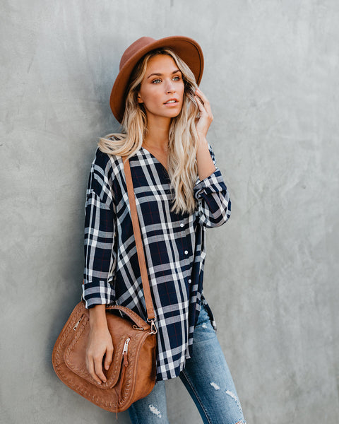 Hang Loose Button Down Plaid Top