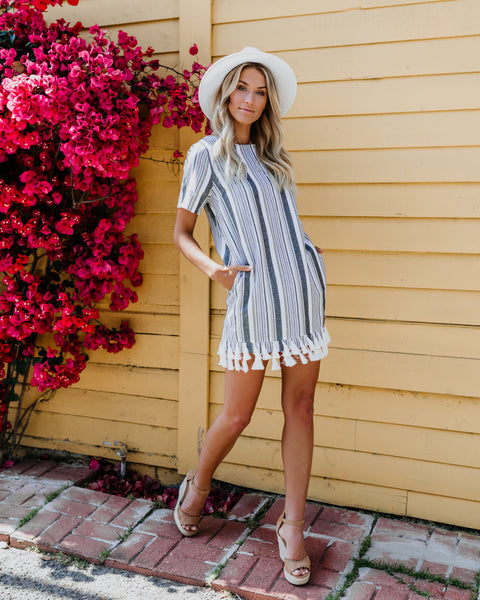 Happy Dance Pocketed Linen Fringe Dress