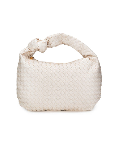 Harper Woven Faux Leather Handbag - Ivory