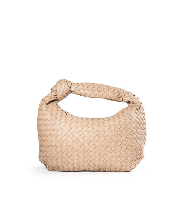 Harper Woven Faux Leather Handbag - Nude