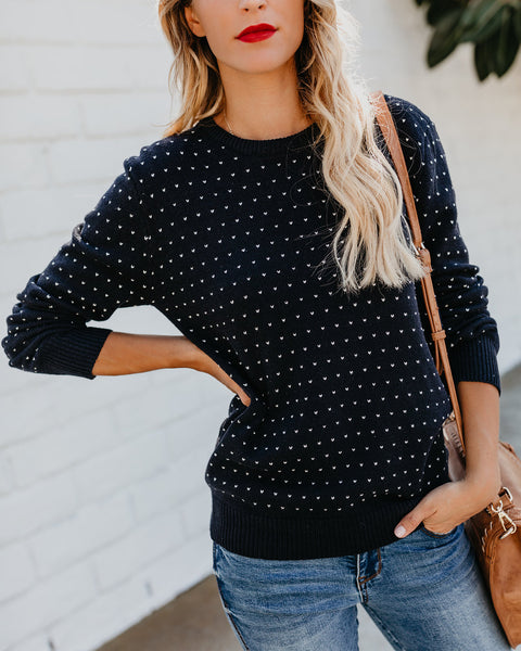 Heart My Way Knit Sweater - Navy