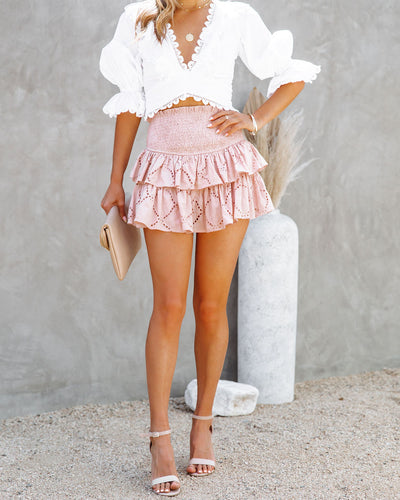 Heartstrings Cotton Eyelet Smocked Skort