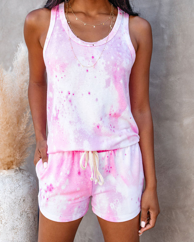 Heat Wave Pocketed Tie Dye Knit Shorts - Pink - FINAL SALE