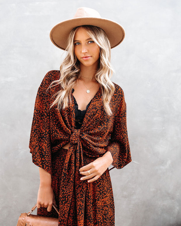 He Loves Me, He Loves Me Not Kimono Tie Top  - FINAL SALE