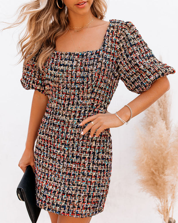 Holiday Party Puff Sleeve Tweed Dress