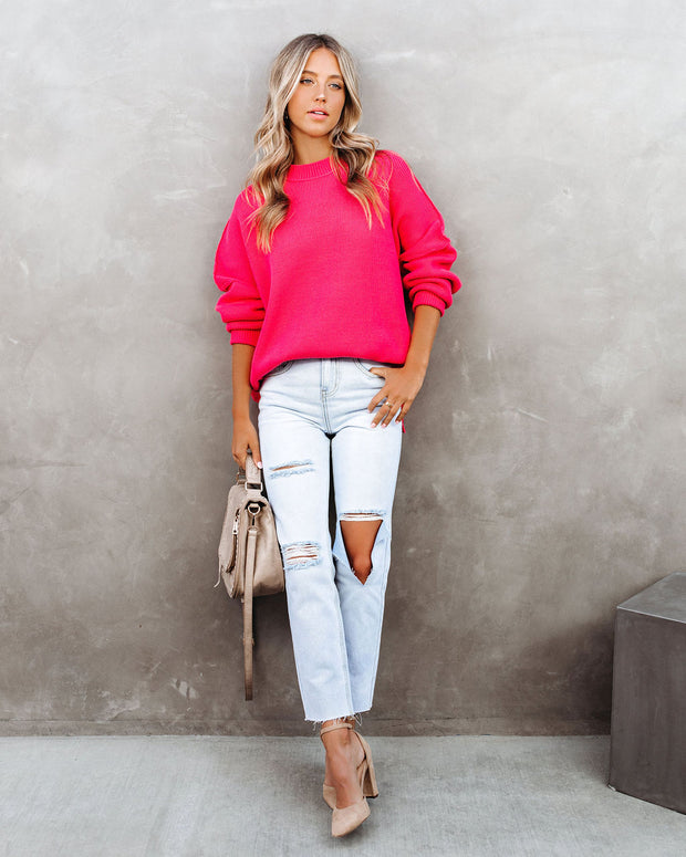 Homecoming Cotton Blend Relaxed Sweater - Hot Pink