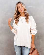 Homecoming Cotton Blend Relaxed Sweater - Natural