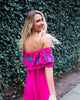 Hot Tropics Embroidered Off The Shoulder Dress - Magenta