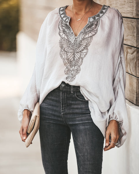 Born In Bali Beaded Blouse - Grey/Silver - FINAL SALE