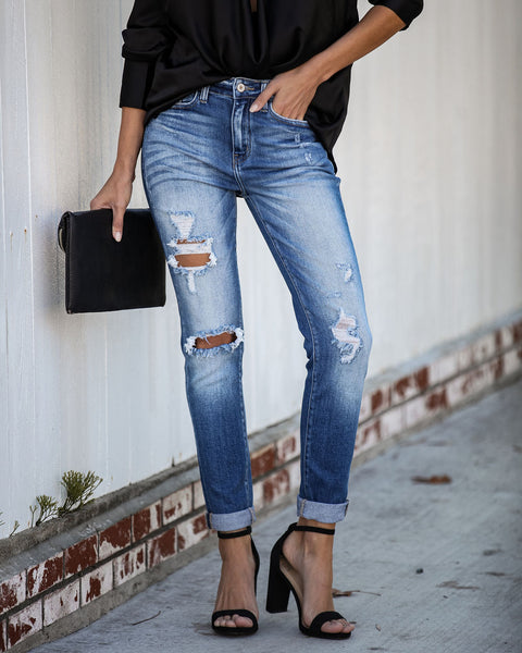 Shallow Distressed Girlfriend Denim