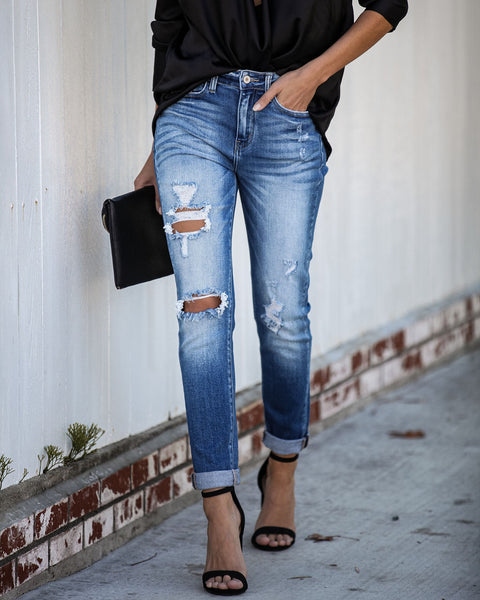 Shallow Distressed Girlfriend Denim - FINAL SALE