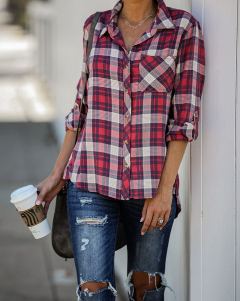 Garth Cotton Blend Plaid Button Down Top   - FINAL SALE