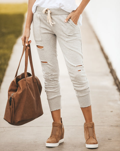 Comfort Zone Cotton Distressed Pocketed Joggers
