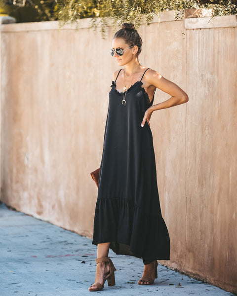 PREORDER - Young Love Ruffle Maxi Dress - Black